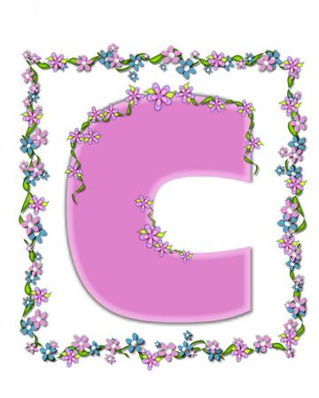 手紙 C、アルファベットでは「デイジー公正ピンク」設定は、ライラックの柔らかいパステル調の色合いです。 アイビーや花のガーランドは、文字