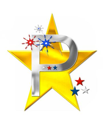 scrap gold: The letter P, in the alphabet set Patriotism is silver metalic.  Fireworks and stars decorate letter with red, white and blue.  Golden star serves as background.