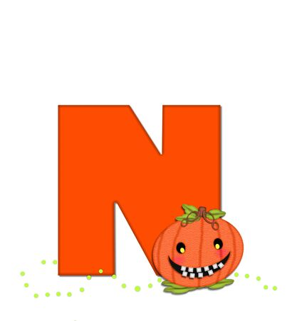 toothy: The letter N, in the alphabet set Pumpkin Head, is bright orange. Letter is decorated with smiling, toothy pumpkins and green polka dots. Stock Photo