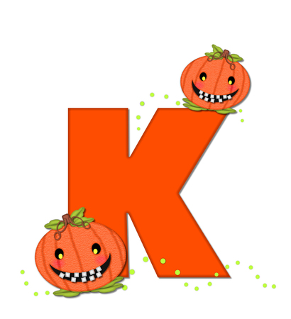 The letter K, in the alphabet set Pumpkin Head, is bright orange. Letter is decorated with smiling, toothy pumpkins and green polka dots.