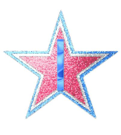 independance day: The letter I, in the alphabet set Red White and Blue is blue metallic.  Letter sits on three mosaic stars of red, white and blue. Stock Photo