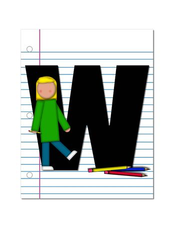 notebook paper: The letter W, in the alphabet set Start of School Two, is black.  Letter is sitting on a blank piece of notebook paper and is decorated with pencils and student.  This set coordinates with Alphabt Start of School.