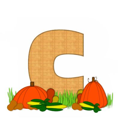 The letter C, in the alphabet set Blessed Bounty, is filled with wicker texture.  Letter sits in grassy field surrounded by Fall vegetables.