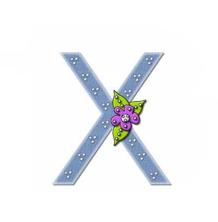 The letter X, in the alphabet set Denim and Flowers is filled with denim fabric.  Edges are soft white and letter is decorated with dots and a large flower. Stock fotó