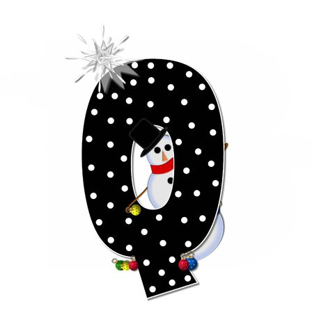 topped: The letter Q, in the alphabet set Frosty, is black and decorated with a snowman and Christmas ornaments.  Snowman is wearing a red scarf and alphabet letter is topped with a glowing white star. Stock Photo