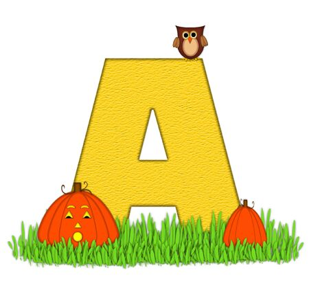 pumpkin patch: The letter A, in the alphabet set Pumpkin Patch  is  a yellow and and sits in the green grass of a pumpkin patch.  Two orange pumpkins and an owl decorate letter.