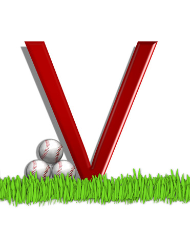 The letter V, in the alphabet set Baseball, is red.  Three baseballs decorate 3D letter.  All sit in a field of green grass.