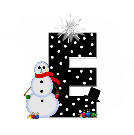 typographiy: The letter E, in the alphabet set Frosty, is black and decorated with a snowman and Christmas ornaments.  Snowman is wearing a red scarf and alphabet letter is topped with a glowing white star. Stock Photo