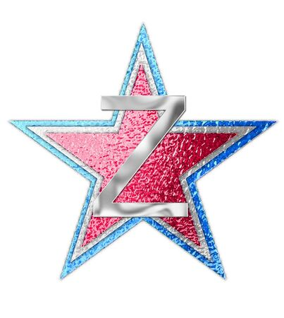 metalic: The letter Z, in the alphabet set All Star is silver metalic.  Three stars of red, white and blue form background. Stock Photo