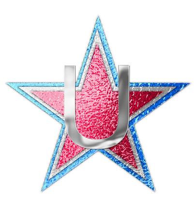 """metalschrott: Die Buchstaben U, im Alphabet gesetzt """"All Star"""" ist silbermetallic. Drei Sterne von roten, weißen und blauen Form Hintergrund. Lizenzfreie Bilder"""