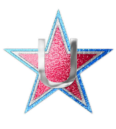 The letter U, in the alphabet set All Star is silver metalic.  Three stars of red, white and blue form background.