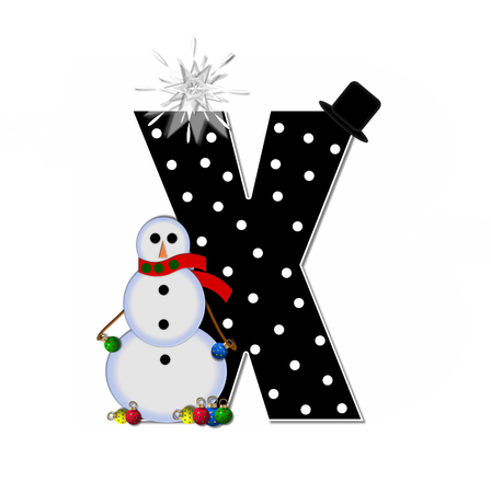 The letter X, in the alphabet set Frosty, is black and decorated with a snowman and Christmas ornaments.  Snowman is wearing a red scarf and alphabet letter is topped with a glowing white star.