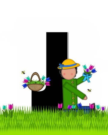 The letter J, in the alphabet set Children Tulip Patch is black outlined with white.  Children hold tulip bouquet and stand in colorful tulip patch.