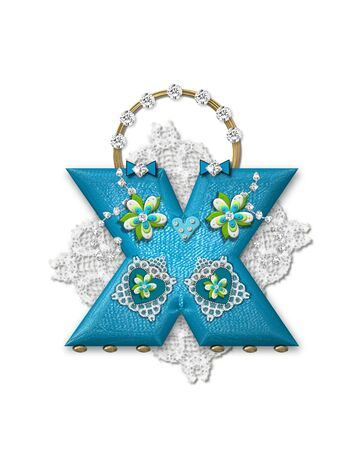 The letter X, in the alphabet set Bling Bag, depicts aqua letter as a blinged out purse with gold handle.  Letter has lace, diamonds and flowers.  Background framing letter is a lace handkerchief. Imagens