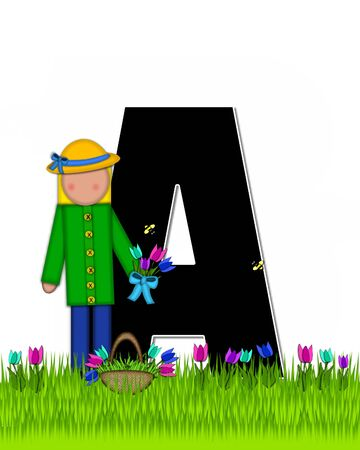 The letter A, in the alphabet set Children Tulip Patch is black outlined with white.  Children hold tulip bouquet and stand in colorful tulip patch.