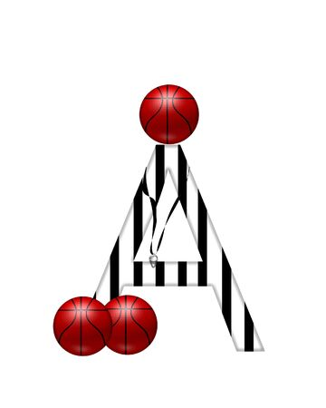 The letter A,in the alphabet set Referee, is black and white striped.  A whistle, on a black ribbon, and basketballs decorate each letter. Stock Photo