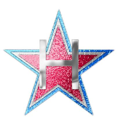 The letter H, in the alphabet set All Star is silver metalic.  Three stars of red, white and blue form background.