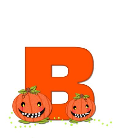 The letter B, in the alphabet set Pumpkin Head, is bright orange. Letter is decorated with smiling, toothy pumpkins and green polka dots.