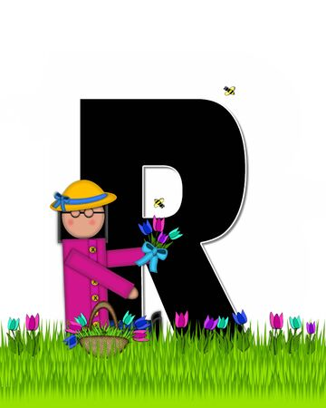 The letter R, in the alphabet set Children Tulip Patch is black outlined with white.  Children hold tulip bouquet and stand in colorful tulip patch.