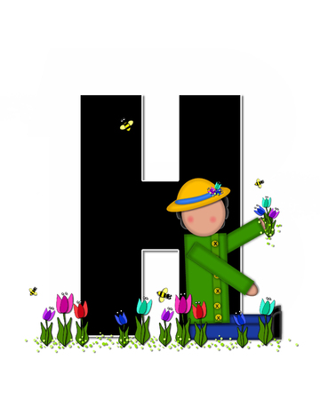 straw hat: The letter H, in the alphabet set Children Spring Tulips is black and trimmed with white.  Child holds bouquet of tulips and wears a straw hat.  Tulip garden grows at her feet.