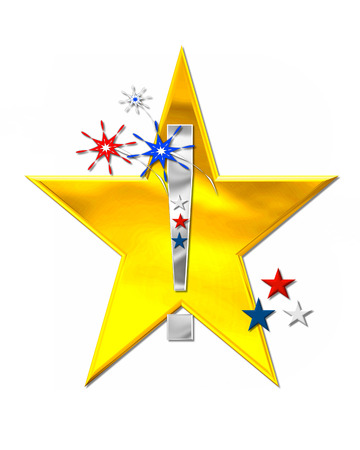 Exclamation mark, in the alphabet set Patriotism is silver metalic.  Fireworks and stars decorate letter with red, white and blue.  Golden star serves as background.