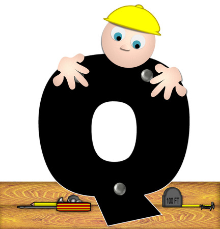 inspecting: The letter Q, in the alphabet set Construction Worker, is black with silver nails embedded in letter.  Construction worker bends over inspecting letter.  Tools sit beside letter on wooden planks. Stock Photo