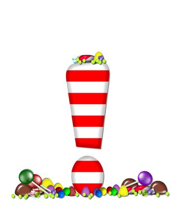 exclamation point: Exclamation point, in the alphabet set Sweet Tooth, is red and white striped.  Letter is decorated with colorful candy and lollipops.