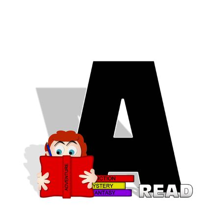 open type font: The letter A, in the alphabet set Absorbed in Reading, is black and decorated with books and people absorbed in reading.  Stark shadow hangs behind letter.  Books have genre printed on spine binding.