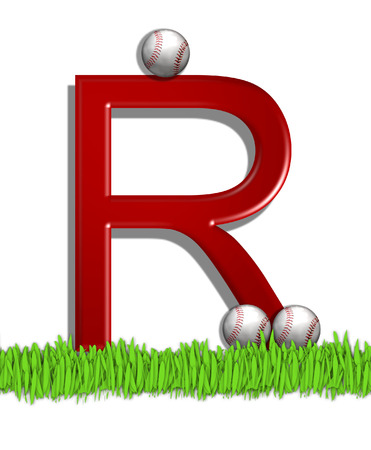 The letter R, in the alphabet set Baseball, is red.  Three baseballs decorate 3D letter.  All sit in a field of green grass. Stock Photo