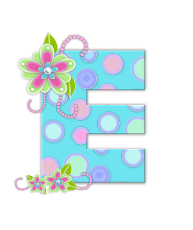 softly: The letter E, in the alphabet set Softly Spotted, is soft aqua.  Letter is decorated with pastel circles, flowers and beads.