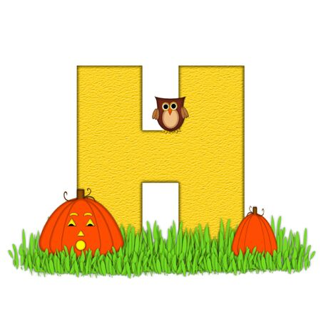 pumpkin patch: The letter H, in the alphabet set Pumpkin Patch  is  a yellow and and sits in the green grass of a pumpkin patch.  Two orange pumpkins and an owl decorate letter.
