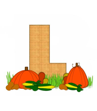 bounty: The letter L, in the alphabet set Blessed Bounty, is filled with wicker texture.  Letter sits in grassy field surrounded by Fall vegetables. Foto de archivo