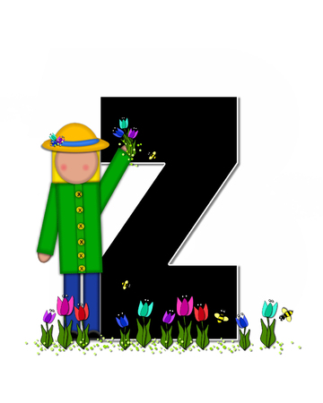 straw hat: The letter Z, in the alphabet set Children Spring Tulips is black and trimmed with white.  Child holds bouquet of tulips and wears a straw hat.  Tulip garden grows at her feet.