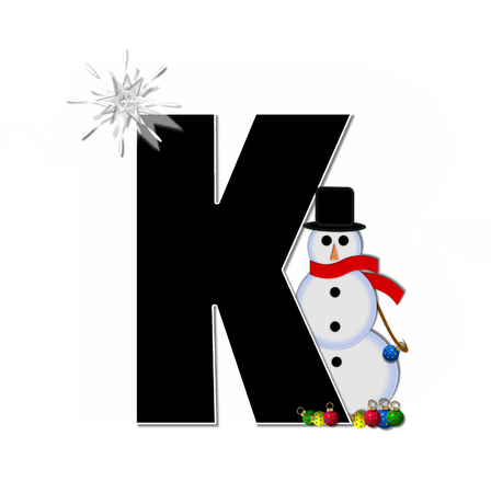 typographiy: The letter K, in the alphabet set Frosty, is black and decorated with a snowman and Christmas ornaments.  Snowman is wearing a red scarf and alphabet letter is topped with a glowing white star.