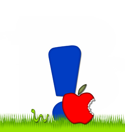 Exclamation point, in the alphabet set Apple a Day Eaten Away, is blue.  Letter is sitting on green grass.  A green worm crawls around letter. Stock Photo