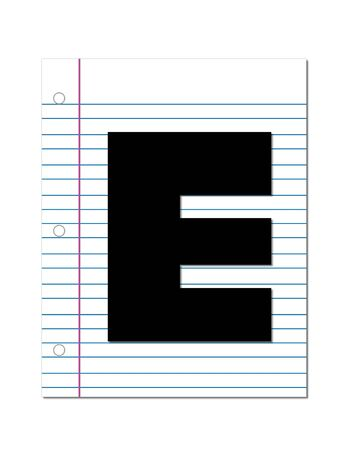 this: The letter E, in the alphabet set Start of School, is black.  Letter is setting on a blank piece of notebook paper.  This set coordinates with Alphabt Start of School Two which has children and pencils.
