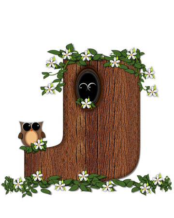 The letter J, in the alphabet set Log Home is filled with wod texture.  Flower bloom on vines hanging on letter.  One owl hides in knothole and the other outside the stump home.