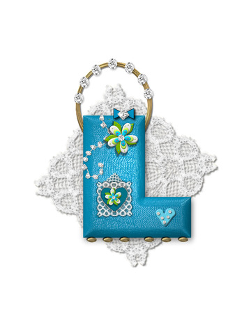 The letter L, in the alphabet set Bling Bag, depicts aqua letter as a blinged out purse with gold handle.  Letter has lace, diamonds and flowers.  Background framing letter is a lace handkerchief.