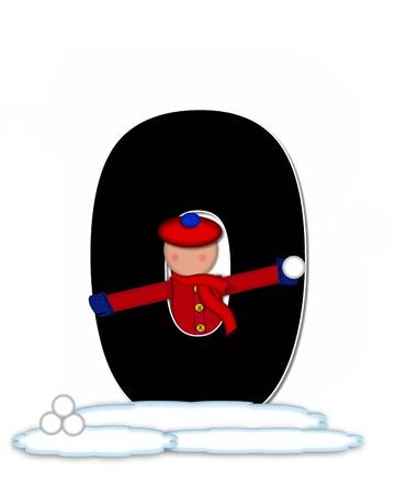 snow cap: The letter O, in the alphabet set Children Snow Fight, is black and outlined with white.  Children, dressed in cap, scarf and mittens, hold snowball ready for a fight.