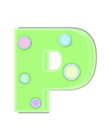 The letter P, in the alphabet set Kaleidoscope, is decorated with two tone polka dots.  Letter is pastel green with soft, outer edge of white. Stock Photo