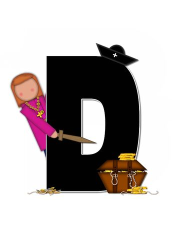 scrap gold: The letter D, in the alphabet set Children Pirates, is black outlined with white.  Children play pirates with wooden sword, treasure chest, gold and pearls. Stock Photo
