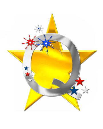 The letter Q, in the alphabet set Patriotism is silver metalic.  Fireworks and stars decorate letter with red, white and blue.  Golden star serves as background.