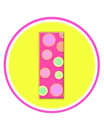 The letter I, in the alphabet set Circle Party is decorated with polka dots in pink, green and orange.  Letter sits on a two color circle of yellow and pink. Stock Photo