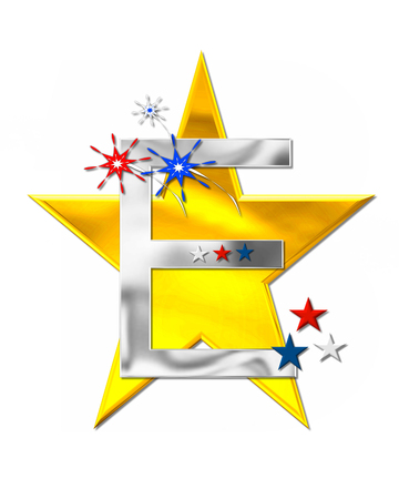 The letter E, in the alphabet set Patriotism is silver metalic.  Fireworks and stars decorate letter with red, white and blue.  Golden star serves as background.