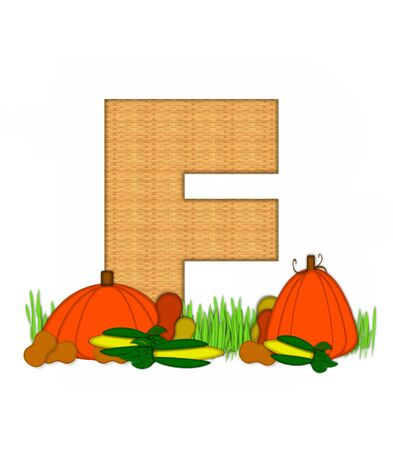 The letter F, in the alphabet set Blessed Bounty, is filled with wicker texture.  Letter sits in grassy field surrounded by Fall vegetables. Stock Photo
