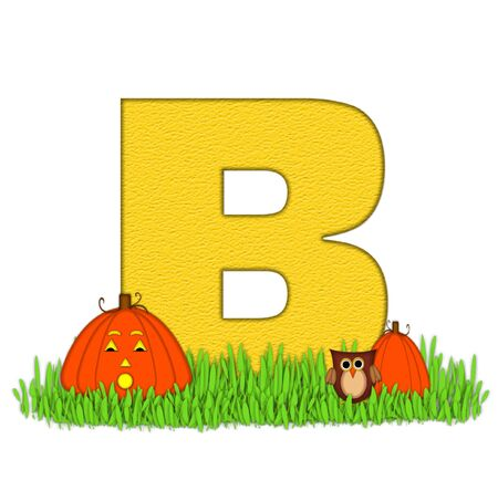 pumpkin patch: The letter B, in the alphabet set Pumpkin Patch  is  a yellow and and sits in the green grass of a pumpkin patch.  Two orange pumpkins and an owl decorate letter. Stock Photo