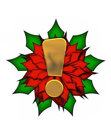 """exclamation point: Point d'exclamation, dans l'ensemble de l'alphabet """"Poinsettia Noël"""" est brillant métallique doré. Lettre située sur un grand rouge, poinsettia."""