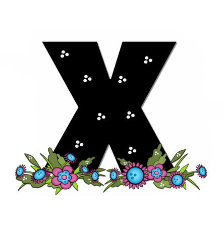 x country: The letter X, in the alphabet set Country Lane Two is pink with black outline.  Letter sits on arrangement of country flowers in pink and blue.