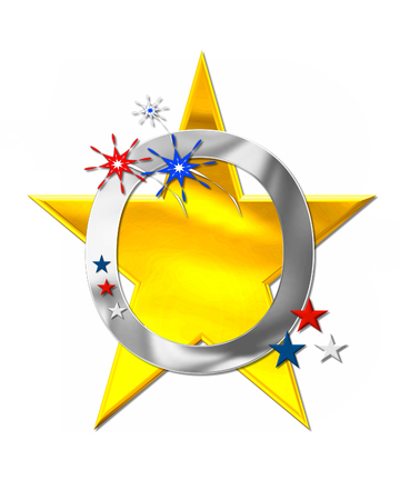 scrap gold: The letter O, in the alphabet set Patriotism is silver metalic.  Fireworks and stars decorate letter with red, white and blue.  Golden star serves as background. Stock Photo