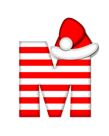 The letter M, in the alphabet set Christmas Candy Cane, is red and white striped.  Letter is decorated with floppy Santa cap.